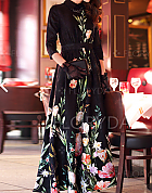 Floral 3/4 Sleeves Maxi Casual Dresses